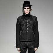 Punk Rave Gothic Extravagance 2 in 1 Lace Up High Collar Zipper Coat Black Y-721