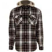 River Island Mens Grey detachable hood check shirt