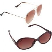 Aligatorr Combo Of 2 Cat Eye Aviator Unisex Sunglasses ldy brnbrndouble sdCRLK