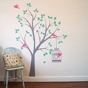 Asmi Collections PVC Wall Stickers Beautiful Green Tree Pink Birds and Cage-AN038-1