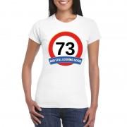 Bellatio Decorations Verkeersbord 73 jaar t-shirt wit dames