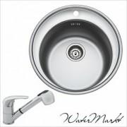 Kevmil KM-52 kör rozsdamentes mosogató + Ferro BVA8 zuhanyfejes csaptelep