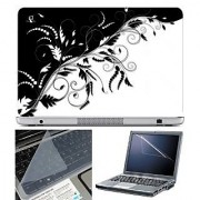 FineArts Laptop Skin - Black and White Leaves Abstract With Screen Guard and Key Protector - Size 15.6 inch