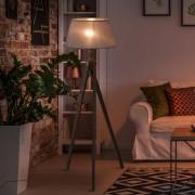 HOMCOM® Stehlampe Stehleuchte Tripod Skandinavisch 40W Holz + Leinen beige 52 x 52 x 146 cm