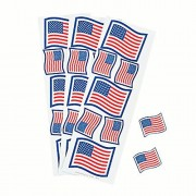 Patriotic Glitter Flag Stickers 12 strips 7 stickers per strip 84 stickers total New