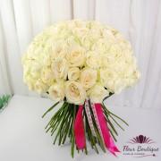 """Buchet 101 Trandafiri Albi """"Pure White"""""""