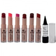 ADS Cinema Beauty Glossy Shine Forever Lipstick Pack of 6 And Free Kajal-GPTGP-A1