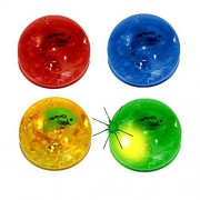 balls - Assorted Gift Collection Light Up Bouncing Ball with Zoo Animals and Confetti Ribbons inside - Set of 4 Clear LED Animal Bouncing Bn Blinking LED Super Bounce Balls - 4 Pack