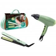 Plancha + Secadora Aguacate Con Macadamia Alaciadora S9960 + D5216 Remington + Bolsa De Viaje