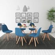 vidaXL Трапезен комплект от 7 части, маса и 6 стола, бяло и синьо