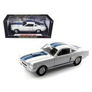 1966 Ford Shelby Mustang GT 350 White with Blue Stripes 1/18 Car Model by Shelby Collectibles