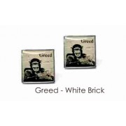 Tyler & Tyler Stencilart 7 Deadly Sins White Brick Cufflinks Greed