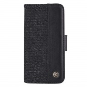 2 in 1 Denim Pattern Genuine Leather Case with Card Slot & Wallet & Holder For iPhone XS 5.8 inch(Black)