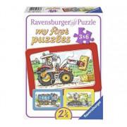 Puzzle Excavator, tractor si basculanta, 3x6 piese