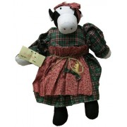 Rag Doll Cow 13 Inches with Green Plaid Dress and Red Calico Apron