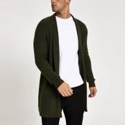 River Island Mens Green long sleeve foldback collar cardigan (XXS)
