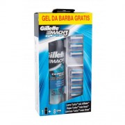 Gillette Mach3 Turbo set cadou Rezerve 8 buc + gel de ras Extra Comfort 200 ml pentru bărbați