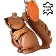 MONKIMAU Squirrel Squirrels Ernie – Small Leather Key Ring, Great Gift Idea for Women and Men in Wild Animal Accessories, Rodent, Calibration Measuring Cat Kitten, Eichhorn