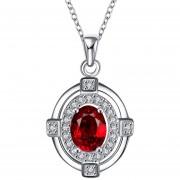 Women Beautiful Oval Rhinestone Silver Chain Necklace