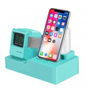 3-in-1 Retro Silicone Stand Holder for iPhone/Apple Watch/Airpods - Green