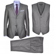 vidaXL Pánsky trojdielny formálny oblek, sivý, veľkosť 52, šedý