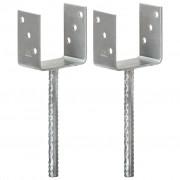 vidaXL Fence Anchors 2 pcs Silver 10x6x30 cm Galvanised Steel