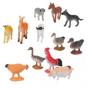 Tradico® Lot 12pcs Dog Horse Duck Pig Small Farm Animals Figures Set & 8X Sheep