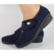 Papuci de casa bleumarin din plus dama/dame/femei (cod 30471)