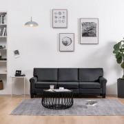 vidaXL 3-местен диван, тъмносив, текстил