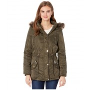 YMI Snobbish Faux Fur Lined Parka with Faux Fur Trim Hood Olive