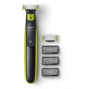 Aparat hibrid de barbierit si tuns barba Philips OneBlade QP2520/30, Wet&Dry, fara fir, 45 min, 5 accesorii, Negru/Verde
