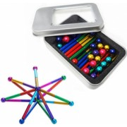 Set Puzzle Antistres cu Bile si Bete magnetice 63 piese multicolor