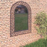 vidaXL Градинско стенно огледало с рамка, 50x80 см, черно