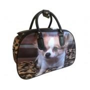 Nagyméretű kiskutyus mintájú bőrönd Anita