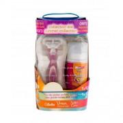 Gillette Venus Vibrance pre ženy holiaci strojček s jednou hlavicou a batériou 1 ks + držiak 1 ks + gél na holenie Satin Care Radiant Apricot 75 ml + kozmetická taštička