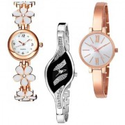 Varni Retail White Flower Belt Round RoseGold Leaf Black Dial Silver Chain 3 Combo Watch For Girls