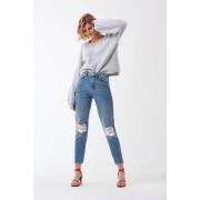 ''Gina Tricot'' ''Mom original jeans'' ''Dk blue destroy'' 40