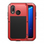LOVE MEI Dust-proof Shock-proof Splash-proof Powerful Metal Defender Mobile Casing for Huawei P20 Lite / Nova 3e - Red