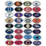 All 32 NFL Teams Logo Helmet Stickers - Complete Die Cut in Shape of Football Sticker Team Set