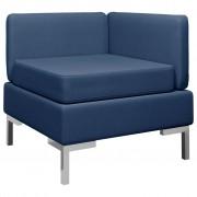vidaXL Модулен ъглов диван с възглавница, текстил, син