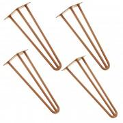 [en.casa]® Štýlové stolové nohy 3 – sada nôh (4 kusová) - 40 cm - bronzové
