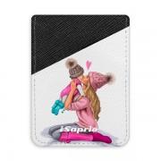 Pouzdro na kreditní karty iSaprio – Kissing Mom – Blond and Girl – tmavá nalepovací kapsa