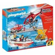Rescate Incendios Playmobil Lancha Auto Helicoptero - 9319