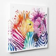 Stickers Muraux Tableau toile - Zèbres Abstrait