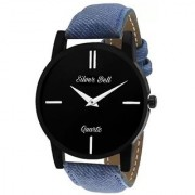 Silver Bell Round Black Dail Blue Leather Strap Analog Watch For Mens