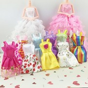 Rishil World 10PCS Beautiful Party Clothes Fashion Dress For Noble Doll Mixed Style