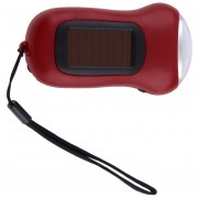 ER Mini Portátil De Manivela De Mano 3 LED Dynamo Linterna Antorcha Solar Camping -Rojo