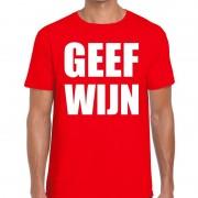 Bellatio Decorations Geef Wijn heren T-shirt rood