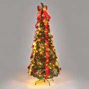 All Round Fun 6ft Red and Gold Pre-Decorated Pop-Up Christmas Tree with Warm White LEDs