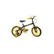Bicicleta Infantil Aro 16 Track Bikes Dino Preta e Amarela